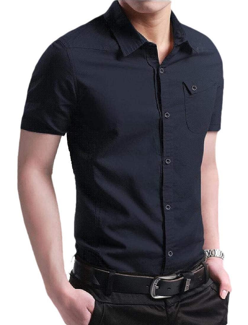 YIhujiuben Mens Slim Fit Short Sleeve Casual Business Button Down Shirt Dress Shirt
