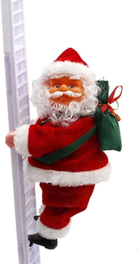 ART-Style Escalera eléctrica de escalada de Papá Noel con bolsa de regalo, figura de Navidad colgante adorno para árbol de Navidad interior al aire ...