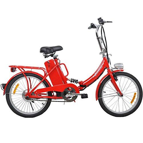 Elektro Klapprad, CRAVOG Aluminiumrahmen E-Bike Mittelmotor mit Rücktritt Inkl 12Ah/24V Akku und Ladegerät, Farbwahl 20 Zoll / 51cm (Rot)