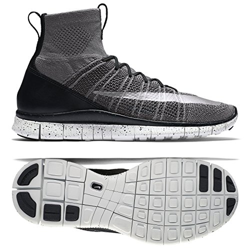 Nike Free Flyknit Mercurial Mens Hi Top Running Trainers 805554 Sneakers Shoes (US 10.5, Dark Grey Silver Black Summit 004) (Free Runner Shoes)