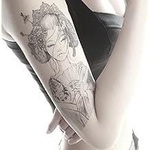 4 Sheets Tattoo Stickers Oriental Beauty Makeup Body Art Beauty Japanese Girl 3D Waterproof Temporary Sexy