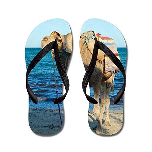 Cafepress Sonriendo Camello En La Playa En Túnez - Chanclas, Sandalias De Tanga Divertidas, Sandalias De Playa Negro