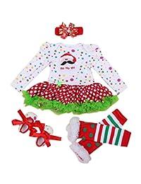Newborn Baby Girls' 4PCS Set Bodysuit Newborn Tutu Party Dress Romper Dress, S