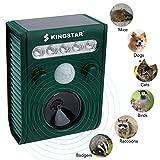 Kingstar Outdoor Waterproof Solar Animal Cat Repeller,Ultrasonic Pet Birds Repellent Rechargeable Battery Operated Cat Dog Scarer with PIR Sensor Flashing