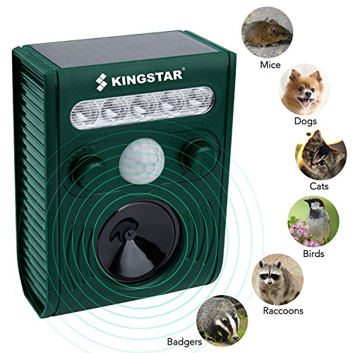Kingstar Outdoor Waterproof Solar Animal Cat Repeller,Ultrasonic Pet Birds Repellent Rechargeable Battery Operated Cat Dog Scarer with PIR Sensor Flashing by Kingstar