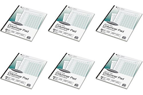 Wilson Jones Column Write Columnar Pads, 6 Columns, 6 Units per Column, 41 Lines per Page, Ruled Both Sides, 8.5 x 11 Inches, Green, 50 Sheets (WG7206A), 6 Packs ()