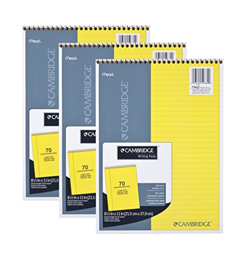 Mead Legal Pad, Top Spiral Bound, Wide Ruled Paper, 70 Sheets Count , 8-1/2