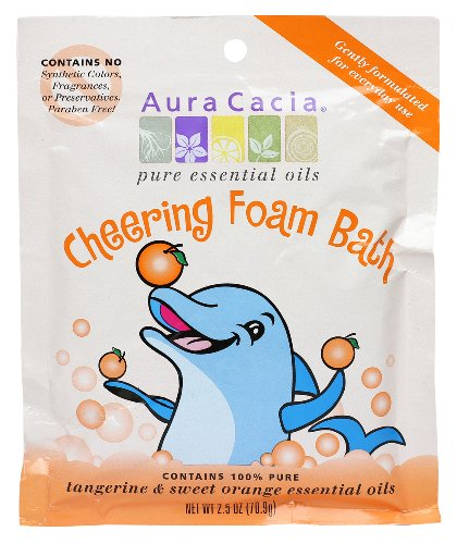 Aura Cacia Aromatherapy Foam Bath, Cheering with Tangerine and Sweet Orange, 2.5 ounce packet (Pack of ()
