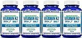 Vitamin K2 MK7 - MenaQ7 and Organic Coconut Oil for Superior Absorption - 120 Soy-Free Non-GMO Vegetarian Liquid Caps 100 mcg. (4 Pack)