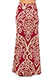 Junky Closet Women's Foldover High Waisted Floor Length Maxi Skirt (Medium, Damask 222 Burgundy Taupe)