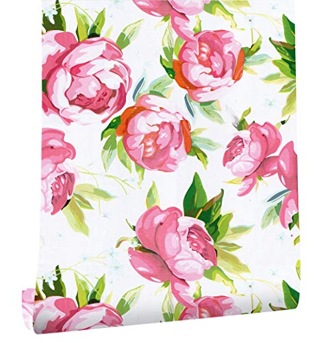 (HaokHome 632261 Thicker Material Pink/Red Rose Floral Modern Wallpaper Rolls Living Room Wall Paper Murals Home 17.7