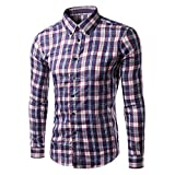 Blouse For Men, Clearance Sale!! Farjing Men's Casual Long Sleeve Plus Size Plaid Button Shirt Top Blouse(3XL,Purple)