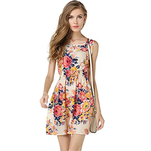 Womens-Summer-Sleeveless-O-Neck-Sundress-Chiffon-Beach-Floral-Casual-Mini-Dress