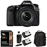Canon EOS 80D Digital SLR Kit with EF-S 18-135mm f/3.5-5.6 Image Stabilization USM Lens (Black), 16GB Memory Card, Extra Battery and Bag