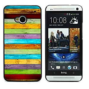 Graphic4You COLORED WOOD PLANKS PATTERN HARD CASE COVER FOR HTC One (M7)
