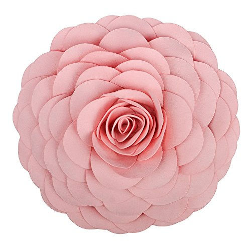 King Rose Handmade 3D Flower Decorative Throw Pillow Wool Cushion for Bed Living Room 14 Inches Round ()