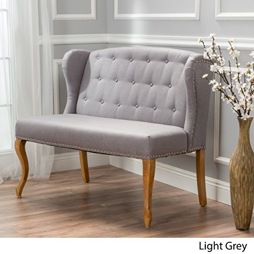 Ellen Light Grey Fabric Loveseat w/ Nailhead - Oak Fabric Loveseat