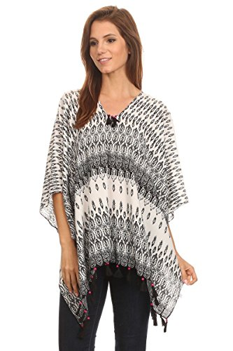 LL Ladies Black Geometric Caftan Tunic Poncho Cover Up Top Summer Tassels ()