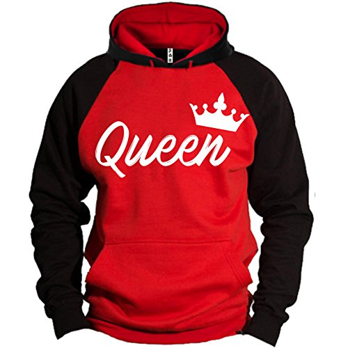 S&R Handwrite King Queen Crown Raglan Hoodie Pullover Hooded Sweatshirt-REDBLACK-XXLARGE-QUEEN