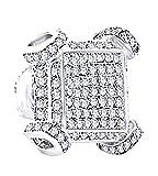 Round White Real Diamond Hip Hop Men's Single Stud Earrings 14k White Gold Over Sterling Silver (0.72 Cttw)