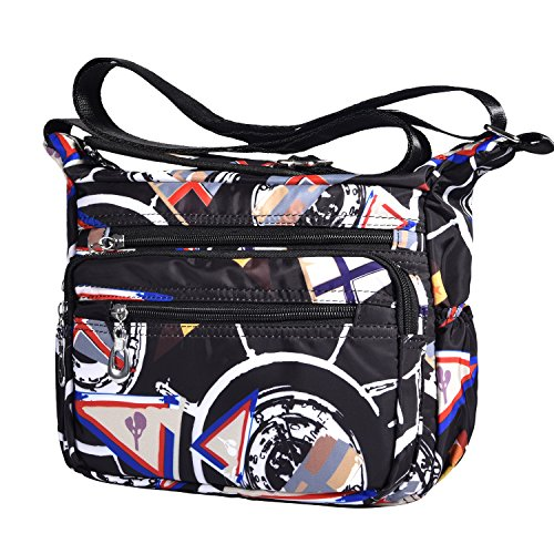 Lvtree Geometry for Medium Pocket with Travel Lightweight Multi Pattern Shoulder Nylon Purse Crossbody Bags Women 4rq4ax