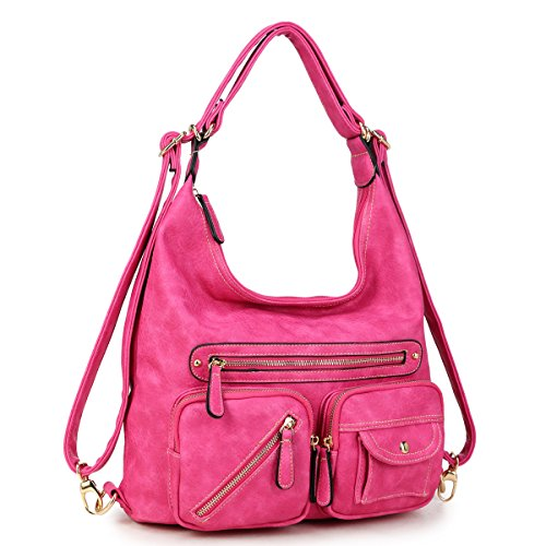 Women Large Hobo Tote Bag Leather Shoulder Bag Ladies Handbags Zipper Pockets Hot Pink by MKY
