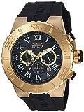 Invicta Men's 'Pro Diver' Quartz Gold-Tone and Polyurethane Casual Watch, Color:Black (Model: 24777)