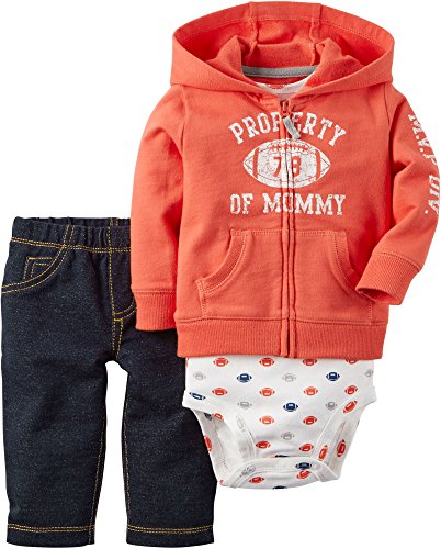 Ki Baby Clothes - Carter's Baby Boys 3-Piece Football Hoodie Set 18 Months