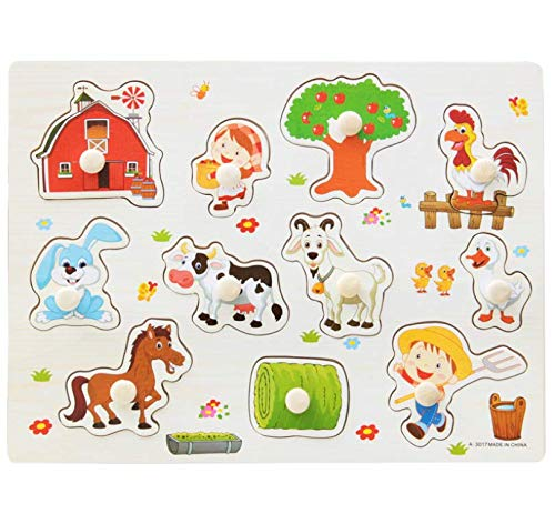 Chusea Deserve to Buy Jigsaw Puzzle Farm Animals Peg Puzzle Educational Toys Puzzles Toys for Kids Gift by Chusea (Image #3)