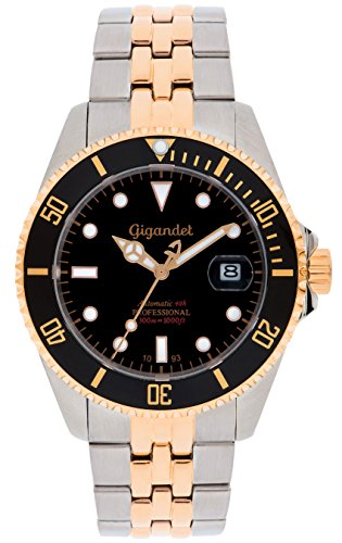 Gigandet Men's Automatic Watch Sea Ground Analog Stainless Steel 30atm Two-Tone Black Rose Gold G2-020