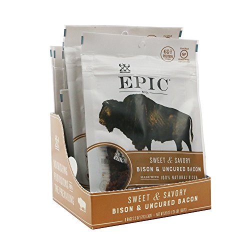 Bison Meat (Epic Jerky Bites, 100% Natural, Bison, Bacon & Chia, 2.5 ounce, 8 Count)