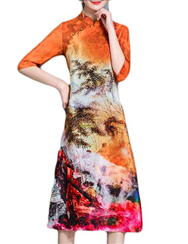 As Women's Half Button Size Fit Plus Down Jaycargogo Split Sleeve Collar Picture Floral Loose Dress Banded 6aq0xwd
