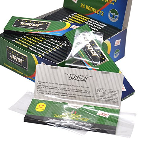 Hornet 24 Packs Transparent Slow Burning Cigarette Rolling Paper,King Size 110 * 44mm,50 Papers per Pack(Total 1200 Papers)