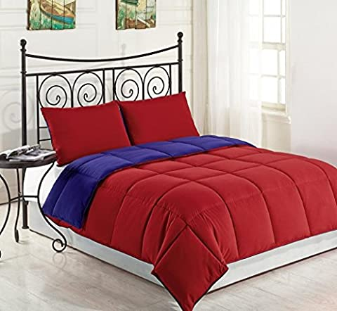 Red / Navy Blue 3-Piece Reversible Down Alternative Comforter Set | Size : KING | One Day Sale