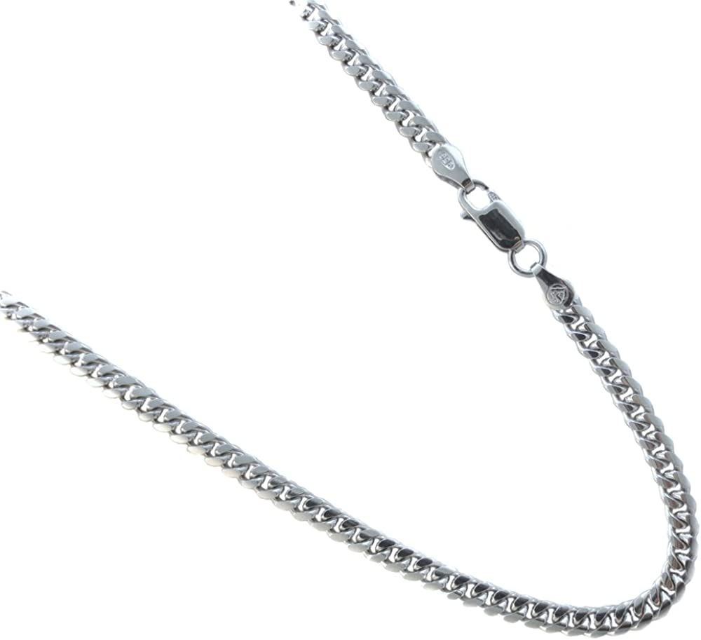 Miami Curb Style Necklace 4 1mm Rhodium Plated Over Sterling Silver Chain 20 22 24 30 Inches 20 Inches Amazon Com