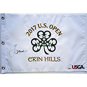 Jordan Spieth signed 2017 u.s. open flag erin hills golf autographed