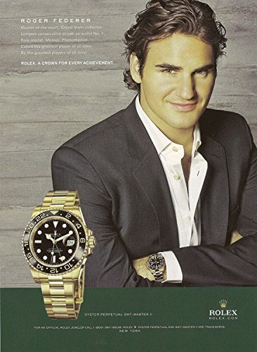 **PRINT AD** With Roger Federer For 2008 Rolex Master Gold Watches **PRINT AD**