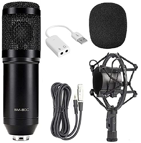 Techtest BM800 Black Condenser Microphone with 7.1 Sound Card for Professional Studio Recording Radio Broadcasting & Podcast Microphone Plastic Shock Mount