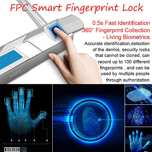 YOUANDMI 2200Mah Smart Fingerprint Lock,Waterproof Heavy Duty Alloy Steel Safe Anti-Theft U Lock with USB Rechargeable Battery for Bike&Motorcycle&Bicycle&Door,Short by YOUANDMI (Image #1)
