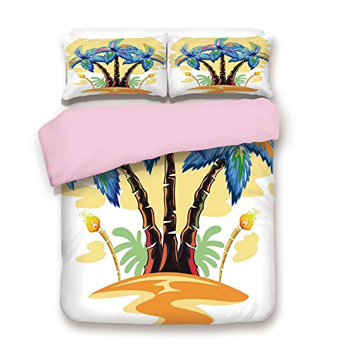 (iPrint Pink Duvet Cover Set/Twin Size/Cartoon Tropical Island with Hawaiian Palm Trees Torch Seagulls at Sunset/Decorative 3 Piece Bedding Set with 2 Pillow Sham/Best Gift for Girls Women/Blue Orange)