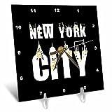 3dRose Alexis Design - American Cities - Stylish text New York City, landmarks, shining windows on black - 6x6 Desk Clock (dc_286454_1)