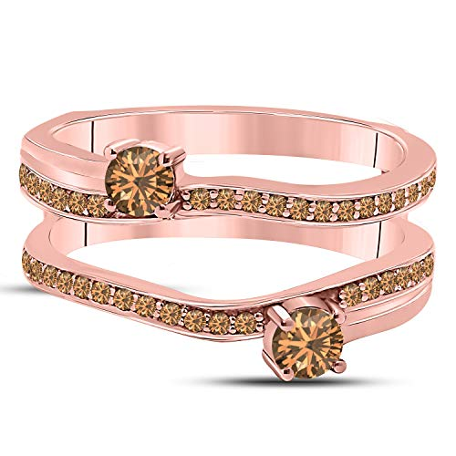 (DS Jewels 14k Rose Gold Plated Alloy Two Stone Prong Set Round Forever US Enhancer Ring Guard with CZ Smoky Quartz (0.58 ct. tw.))