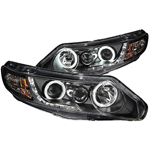 Honda Civic Anzo Headlights - AnzoUSA 121454 Black/Clear/Amber Halogen Projector Headlight for Honda Civic