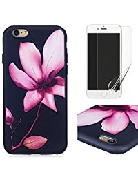 For iphone 6/6S Case and Screen Protector,OYIME Luxury [Pink Lotus] Relief Pattern Design Black Silicone Rubber Ultra Thin Slim Fit Bumper Drop Protection Anti-Scratch Protective Back Cover