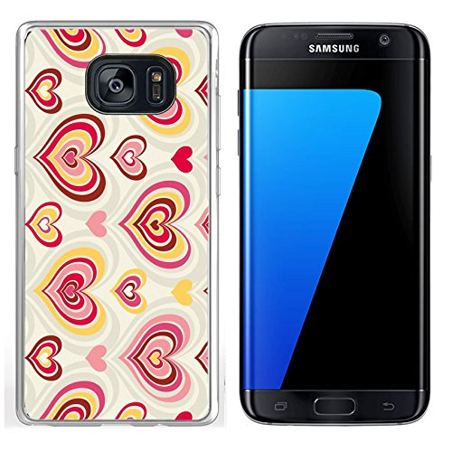 Luxlady Samsung Galaxy S7 Edge Clear case Soft TPU Rubber Silicone IMAGE ID 4160979 abstract background pattern with retro valentin hearts (Heart Valentin)