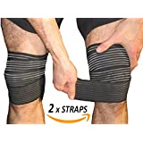 Armstrong Amerika Knee Pain Relief Straps Support Wraps Gym Squat Lifting Knee Brace Velcro Compression Bandage Sleeve Reduce Rheumatoid Arthritis Joint Inflammation Swelling Knee Replacement (Small)