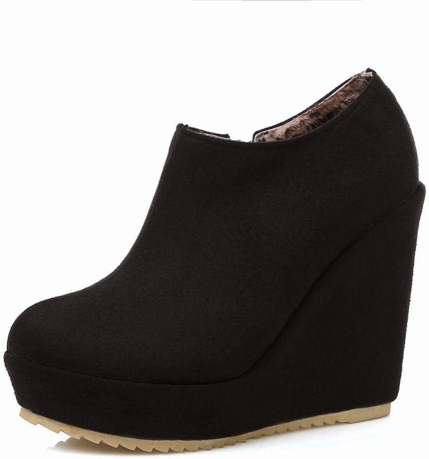 Schwarz  GZ Frauen Schuhe - Europa Und Amerika Herbst Und Winter Warme Mode Reißverschluss Stiefel Schwarz Niedrige Stiefel Stiefel 36-43