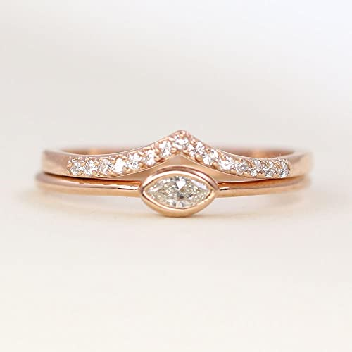 a57448a96f87 Amazon.com  Dainty Diamond Wedding Ring Set