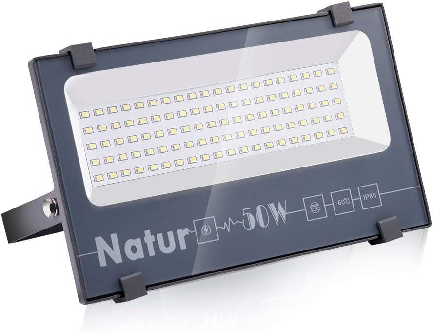 50W LED Foco Exterior de alto brillo,5000LM Impermeable IP66 Proyector Foco LED, Iluminación de Seguridad, 6000K Blanco Frío para Pared,Patio, Camino, Jardín [Clase de eficiencia energética A++]