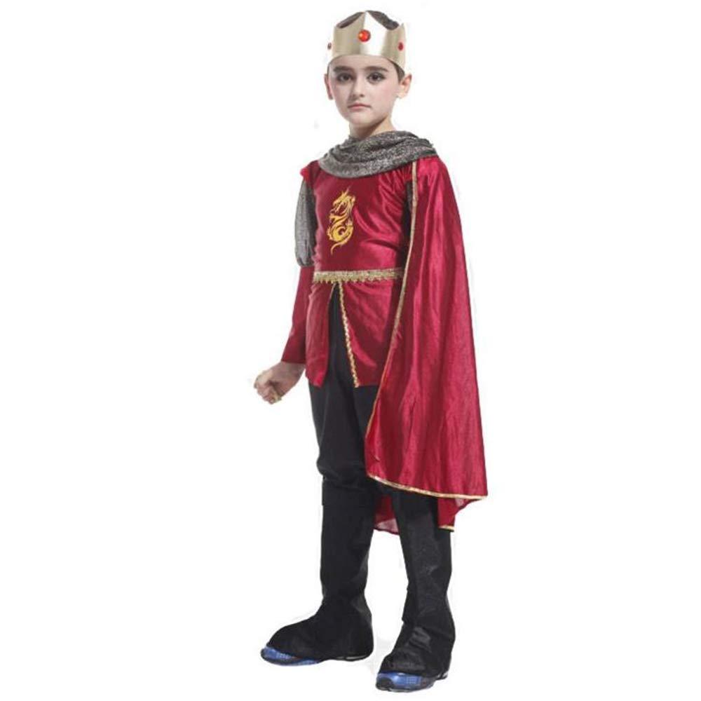 BHXUD Disfraces De Halloween COS Niños Rendimiento Ropa De Rey Capa Conjunto De Rendimiento De Escenario,M